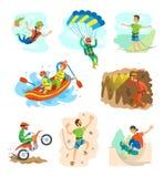 Sport, bungee jumping e rafting estremi in barca illustrazione di stock