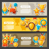 Sport or business award sticker icons banners Stock Photos