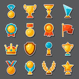 Sport or business award sticker icons set Stock Photography