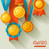 Sport or business background with medal award Royalty Free Stock Photography