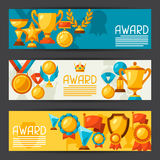 Sport or business banners with award icons Royalty Free Stock Photography