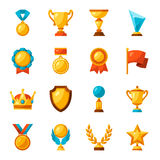Sport or business trophy award icons set Royalty Free Stock Photo