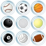 Sport buttons. Set of sport balls buttons Royalty Free Stock Image