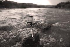 Sport camera on a tripod Royalty Free Stock Photography