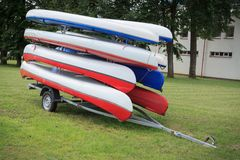 Sport canoes on trailer Stock Photography