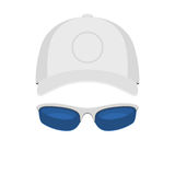 Sport Cap and sunglasses. Baseball Cap and sport sunglasses Isolated on White Background. Vector illustration sign Royalty Free Stock Photo