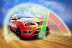 Sport car. Beautiful orange sport car on road Stock Image