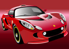 Sport car. Red sports car on a dark red background Stock Image