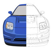 Sport Car. Illustration of a sports car, one half of which is contoured and the other is painted Stock Photos
