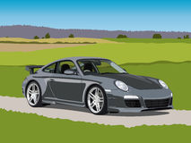 Sport car. Illustration of a sports car on the rural road Royalty Free Stock Photos