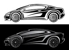 Sport car. On a white and black background Stock Photography