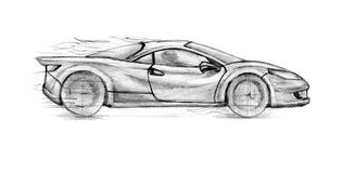 Sport Car. Fire Sport Car. Sketch illustration on white background Royalty Free Stock Images