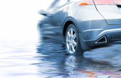 Sport car. In rendered water Stock Photos