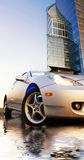 Sport car. Reflected in rendered water office building and clear blue sky behind it Royalty Free Stock Image