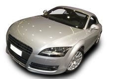 Sport car. Silver Audi TT sport car isolated on white Royalty Free Stock Photo