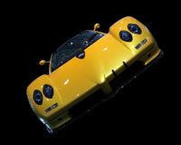 Sport car. Yellow sports car on black background/ angled Stock Image