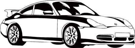 The sport car. Vector illustration of the modern sport car in black-and-white execution Royalty Free Stock Photos