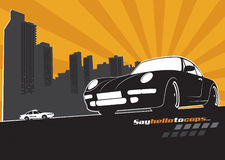 Sport car. With city silhouette and police car behind Stock Images
