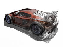 Sport car. 3D render sport car. The illustration talk about of tecnology and proyects. The proces of one proyect Royalty Free Stock Photos
