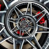 Sport car automobile wheel abstract fractal brake disk tire close up spiral effect pattern background illustration. Automotive abs Royalty Free Stock Image