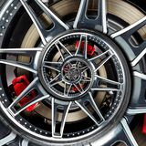 Sport car automobile wheel rim spoke abstract fractal brake disk tire close up spiral effect pattern background illustration. Auto Royalty Free Stock Images