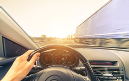 Sport car driving on the freeway. Stock Photography