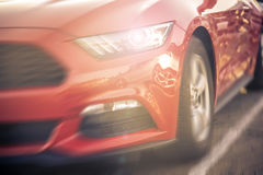 Sport car driving on the freeway. Royalty Free Stock Images
