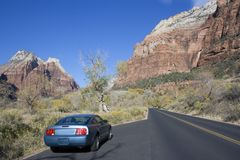 Sport car driving in Utah. royalty free stock photos