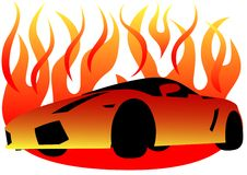 Sport car in fire. Drawing of a sports car in flame of fire Royalty Free Stock Photos