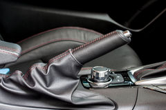 Sport car hand break. With black leather Stock Photography