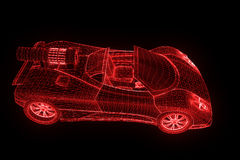Sport Car in Hologram Wireframe Style. Nice 3D Rendering Stock Image