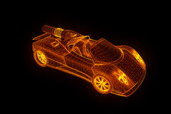 Sport Car in Hologram Wireframe Style. Nice 3D Rendering Stock Photos