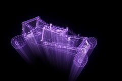 Sport Car in Hologram Wireframe Style. Nice 3D Rendering Stock Photography