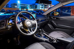 Sport car interior. Sport black car interior at night Stock Images
