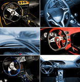 Sport car interior collage. Picture of a Sport car interior collage royalty free stock image