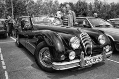 Sport car Jaguar XK140 Roadster, (black and white) Stock Photos