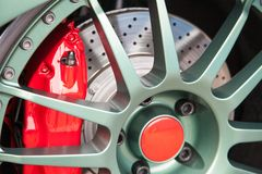 Sport car light alloy wheels Royalty Free Stock Photography
