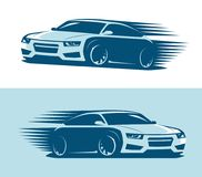 Sports car in motion, logo. Abstract vector art illustration royalty free illustration