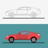 Sport car logo on white background. Drag racing. Car line art . Flat vector illustration. Sport car logo on white background. Drag racing. Car line art Stock Images