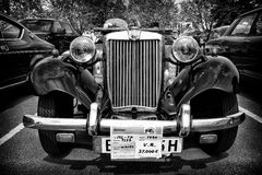 Sport car MG TD Midget (black and white) Stock Photography