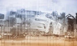 Sport Car Mixed Media Futuristic Background. stock photography