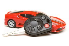 Sport car model with key Royalty Free Stock Images