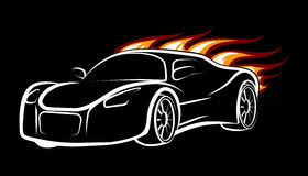 Sport Car. Modern sport car emblem. Burning car isolated on black Royalty Free Stock Photos