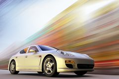 Sport car on motion. 3D rendering of a sport car on motion at high speed vector illustration