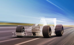 Sport car outline on road. Sport car outline and wheels rushes on road with high speed stock illustration