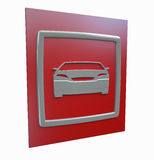 Sport car parking red sign isolated. On a white background 3d model Royalty Free Stock Photos