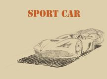 Sport car poster- drawing Stock Images