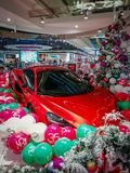 Sport car for presents. royalty free stock photography