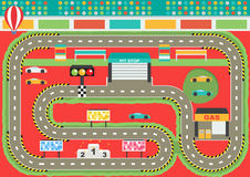 Sport car racing track play. Mat for children activity and entertainment. Racing competition championship facilities, endless road, stadium environment Stock Photos