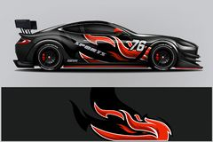 Sport car racing wrap design. vector design. - Vector stock illustration